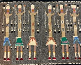 Handmade Wool Native American Motif Carpet