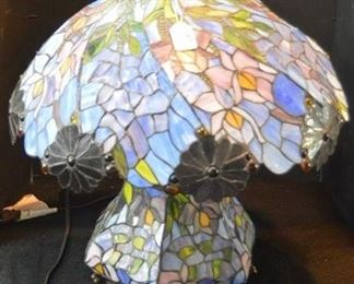 1619 - Blue Leaded Glass Lamp with Flowers