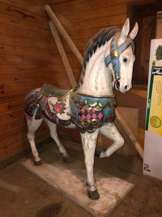 6 FT. WOOD CARVED HORSE