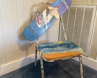 Vintage handmade skateboard chair