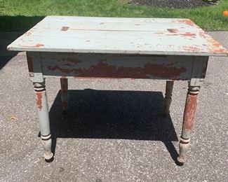"Primitive farmhouse table, barn find, original aqua and red paint. Sturdy on castors. Barn find. Measures 37"" long, 29"" high, 25"" deep $95"