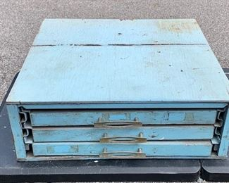 Three drawer light blue tabletop cabinet.  Drawers pull out. Paper or file cabinet. Wood. $35