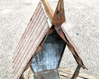 """Old Metal niche for religious statue or collectibles. Stands approximately 28"""" high. $79"""
