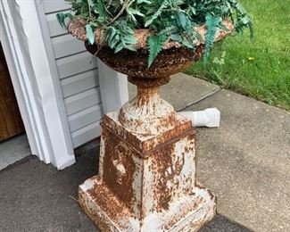 Monumental antique urn, two pieces, from Granville, Ohio sprawling estate. 19th century. Heavy iron. Top comes off of base. Heavily carved and SPECTACULAR! $625