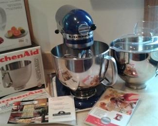 Great Kitchen Aid Cobalt Blue Mixer and lots of great add ons!