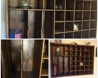 My favorite piece! Pigeon Hole  Cabinet. Currently hung on wall but would be great on top of desk or cabinet.  Large piece. Must see