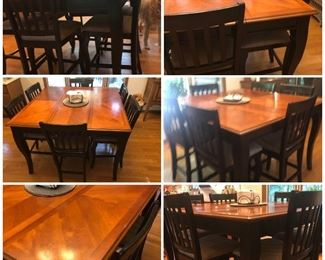 Top Quality High top with leaf, Six chairs. Nice quality. Study. House is immaculate. Condition is  like new.
