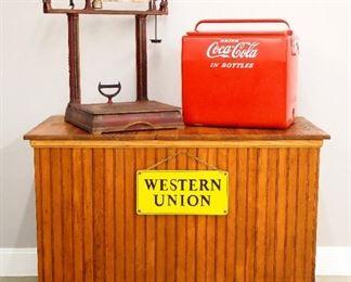 Howe Scale, Coke Cooler, Enamel sign, Store counter