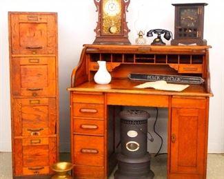 Desk, Clocks Etc