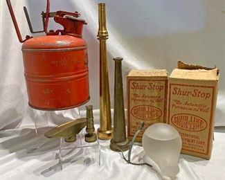 antique fire items nozzles etc, fireman collectibles