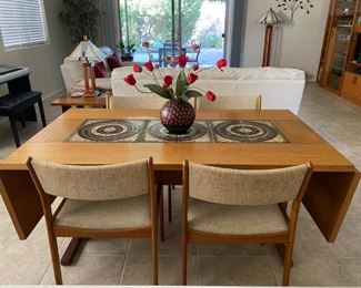 MCM Signed Gangso Teak/ Tile Dining Table & Chairs