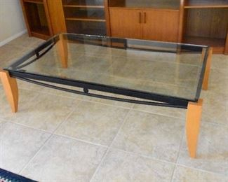 Beveled Glass Coffee Table Metal with Teak Legs