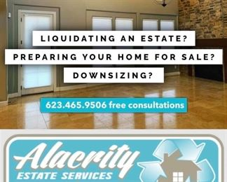 Alacrity does full home liquidation services in Phoenix and the surrounding cities; Sun City, Sun City West, Cave Creek, Scottsdale, Peroria, Glendale, etc.