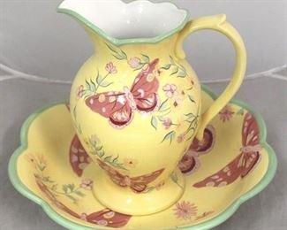 6 - 2 Piece art pottery bowl & pitcher set