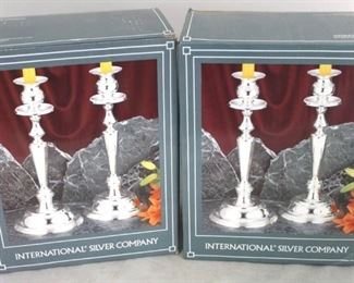 11 - 2 Pair International silver plated candle holders New in box