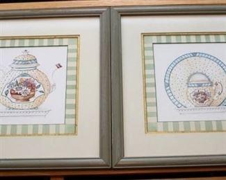 21 - Pair framed prints - 13 1/2 x 13