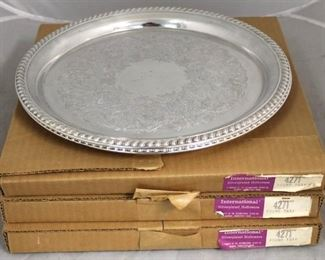 39 - 3 Silver plated serving trays