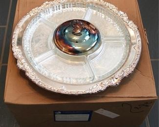 41 - Silver plated relish dish in box