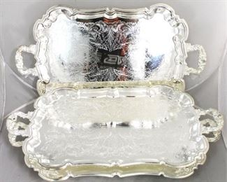 51 - Lot of 3 large silver plated serving trays