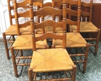 78 - Set of 6 matching ladder back chairs