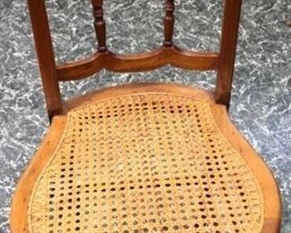 81 - Victorian walnut cane seat chair
