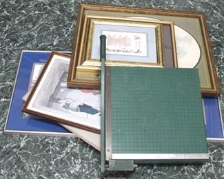 87 - Assorted picture frames & paper cutter