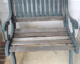 100 - Pair matching cast iron & wood chairs 32 x 26 x 21