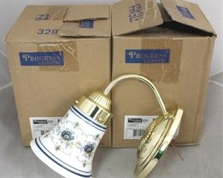 103 - Pair matching brass sconces New in box