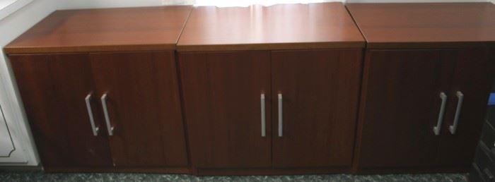 108 - 3 Matching wood cabinets 29 1/2 x 31 x 21 1/2