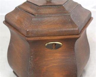 """115 - Wooden tea caddy - 8"""" tall"""