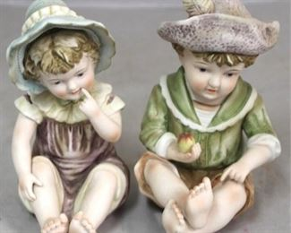 """120 - Pair piano baby figurines - 7"""" tall"""