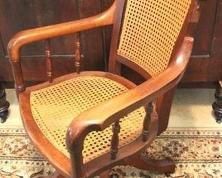 162 - Victorian walnut caned swivel office chair 40 x 24 x 20