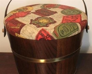 179 - Wood covered bucket 13 x 11