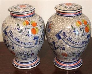 "182 - Pair ginger jars 7"" tall"