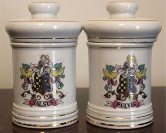 "183 - Pair apothecary jars 6"" tall"