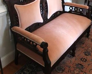 190 - Victorian stick & ball carved parlor sofa