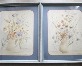 197 - Pair matching framed prints 27 1/2 x 26