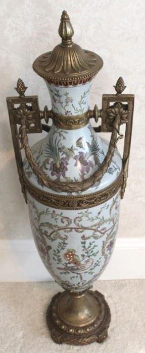"""202 - Porcelain & bronze urn 33"""" tall"""