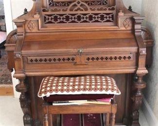 210 - Victorian walnut organ & stool w/ music 61 x 58 x 24