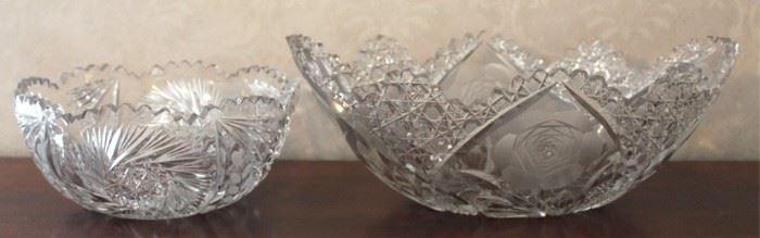 214 - Cut & pressed glass bowls