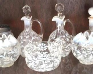 215 - Group of opalescent Spanish Lace glassware
