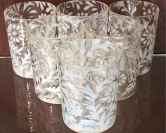 216 - 6 Opalescent Spanish Lace flat tumblers