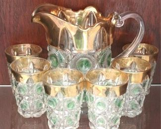 219 - Early American Pressed Glass water set