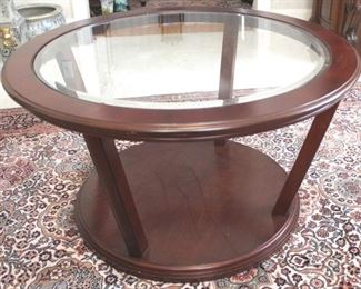 223 - Beveled glass insert wooden coffee table 20 x 36