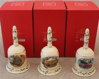 250 - 3 Lenox Christmas bells - new in box