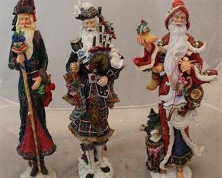 258 - 3 Lenox Santa figures