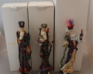 264 - 3 Lenox Santa figures with boxes