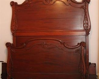 281 - Fancy carved bed with rails 61 x 78