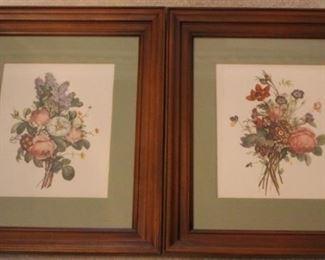282 - Pair framed floral prints 17 1/2 x 14 1/2