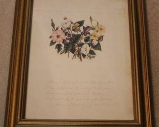 283 - Vintage framed floral print 16 x 20